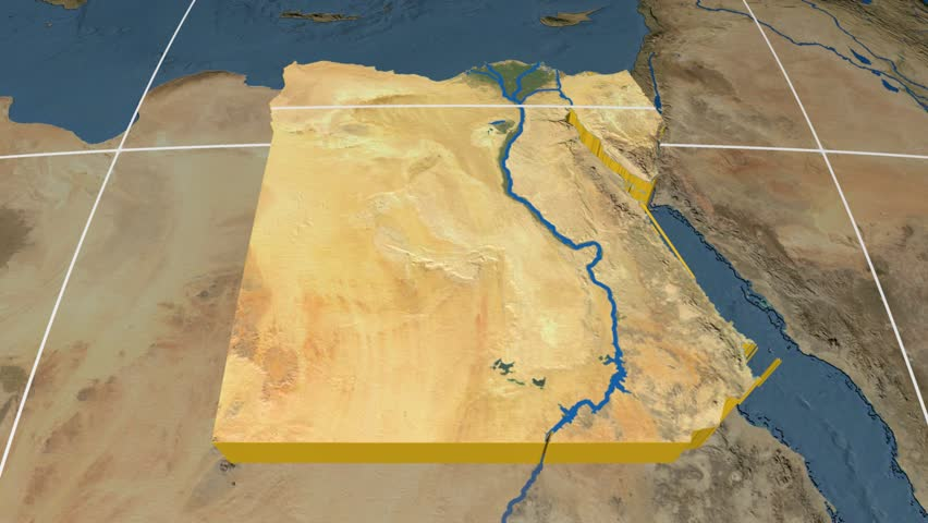 Egypt Extruded On The World Map Rivers And Lakes Shapes Added - Map of egypt high resolution