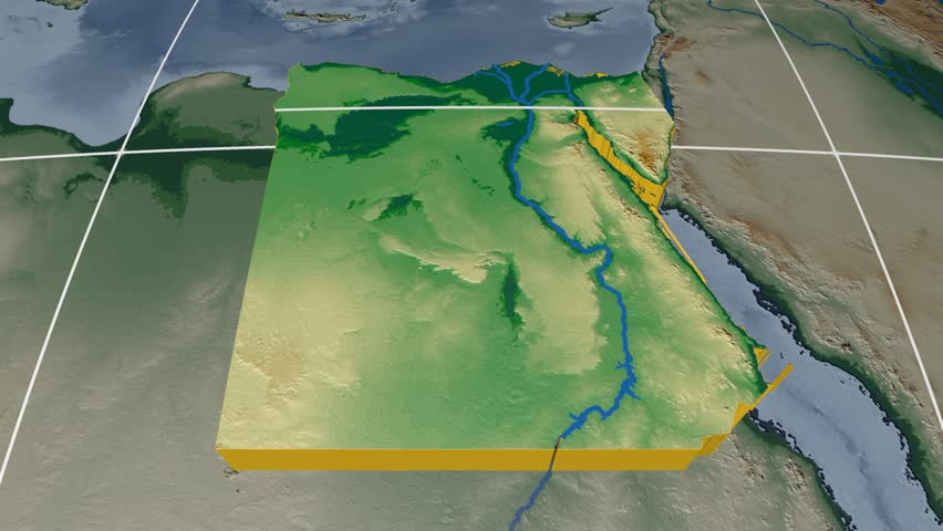 Egypt Extruded On The World Map Rivers And Lakes Shapes Added - Map of egypt elevation