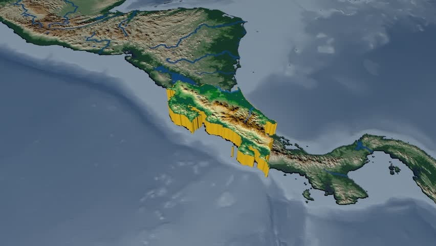 Costa rica extruded on the world map rivers and lakes shapes costa rica extruded on the world map rivers and lakes shapes added colored elevation and bathymetry data used elements of this image furnished by nasa gumiabroncs Gallery