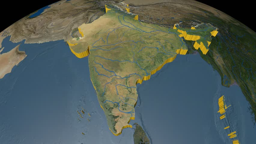 India Extruded On The World Map Rivers And Lakes Shapes Added - World map satellite map
