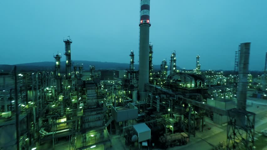 aerial view of oil refinery production factory. gas storage tanks. chemical industry background