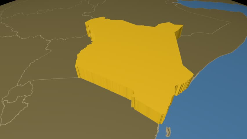 Kenya Extruded On The World Map With Administrative Borders Solid Colors Used 4k