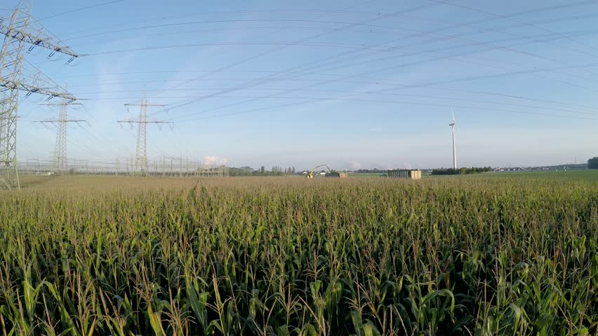 aerial video footage of a harvested corn-field (mais-field) in germany for a biogas plant