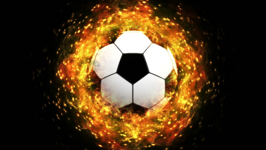 Flaming Soccer Ball Wallpaper: Soccer Fireball In Flames On Black Background, HD Render