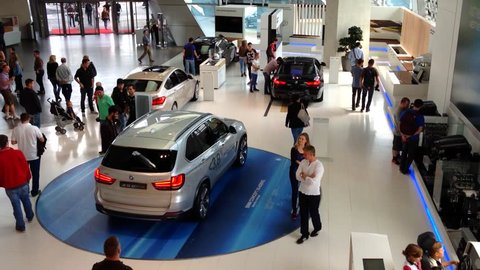 MUNICH, GERMANY - AUGUST 30: BMW WELT, the famous BMW Showroom on August 30, 2014 in Munich, Germany. BMW WELT was constructed from August 2003 through summer 2007 at a cost of US$200 million.