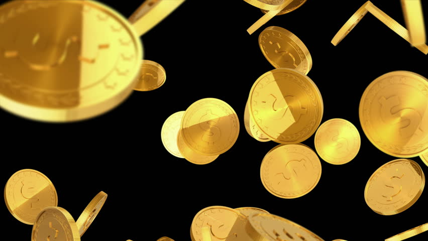 Gold coins falling on black background. Beautiful Looped animation. 4K. Alpha mask.