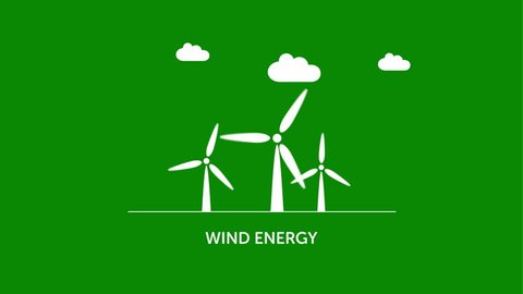 Green energy - wind, solar, water power station icons / symbols animated on green background - ecology concept