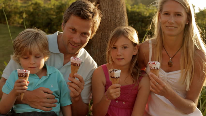 Family Group Eating Ice Cream Stock Footage Video 8177014 ...
