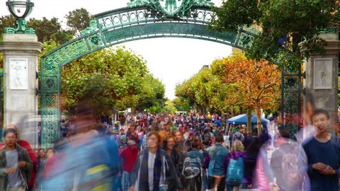 California, 2014, Autumn. Sather Gate is a prominent landmark leading to the center of the University of California, Berkeley campus. It is California Historical Landmark.