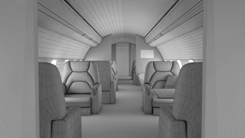 Smooth walk through white private business plane interior