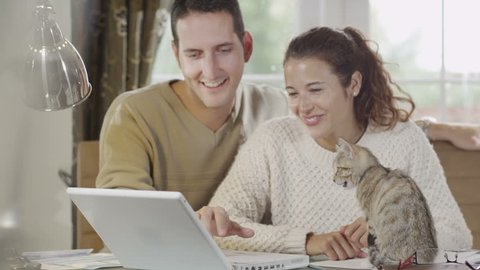 Young couple working from home with their pet kitten. Playful cat with it's owners.