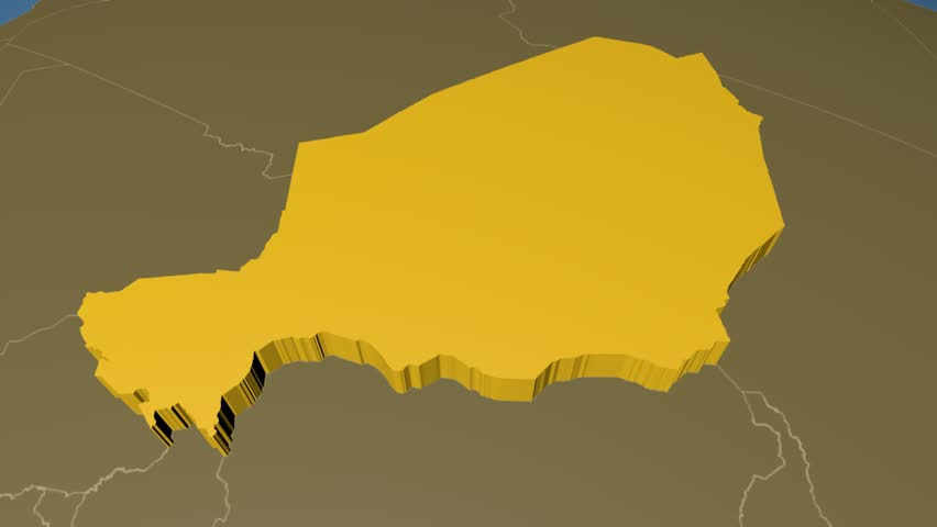 Niger Extruded On The World Map With Administrative Borders Solid Colors Used 4k