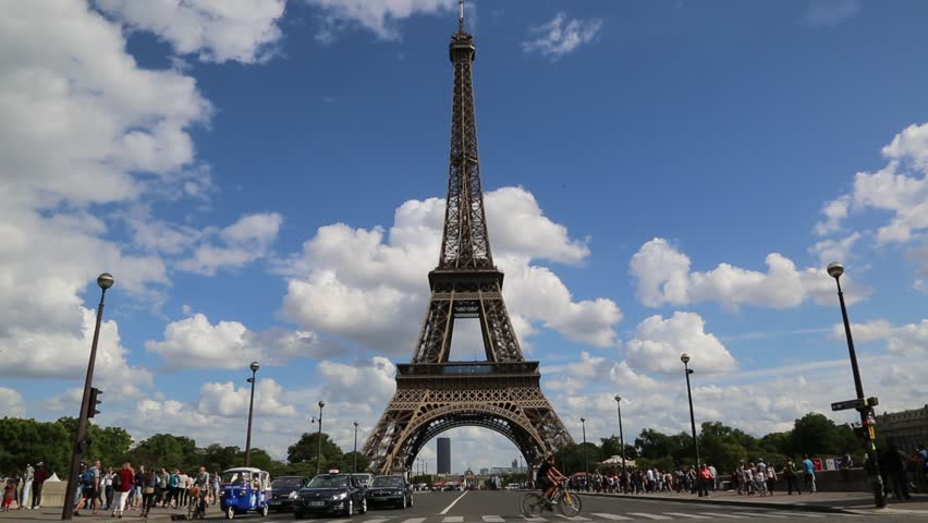 The Eiffel Tower in Paris, France in a beautiful summer day | Shutterstock HD Video #8217919