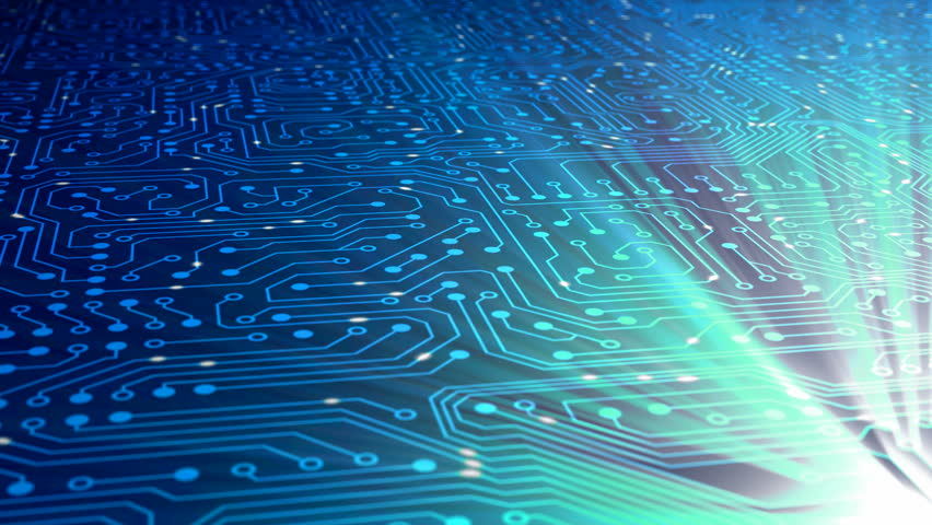 Fly above data stream with chip. Clip contains data, data stream, transfer, communication, circuit board, calculating, network, computer, information, cyberspace. | Shutterstock HD Video #822985
