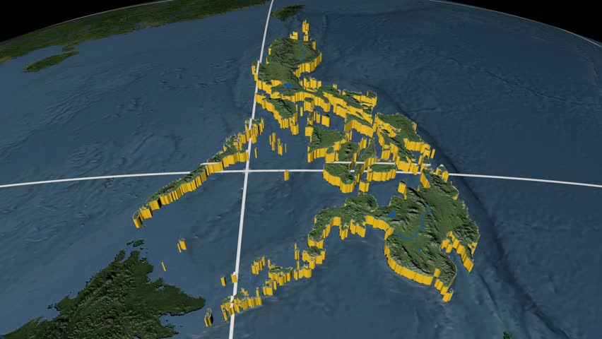 Philippines extruded on the world map rivers and lakes shapes added philippines extruded on the world map with graticule rivers and lakes shapes added high gumiabroncs Gallery