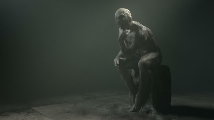 Thinker statue. Clip 2. Zoom in.