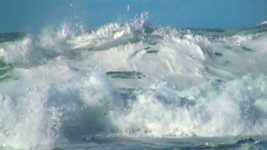 Ocean, very big wave, foam, blue sky, slow motion | Shutterstock HD Video #8258095