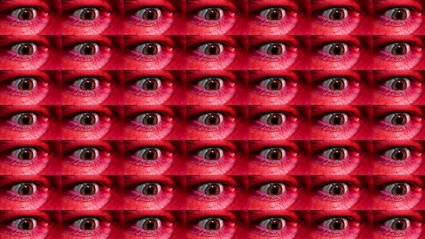 Abstract animation, paranoid psychotic breakdown, frantic wall of eyes