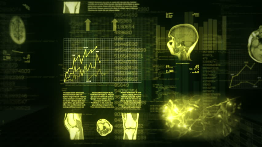 Medical Background. Video showing MRI, neurons, charts, numbers and data animations. Loopable. Green. 360.    MORE COLOR OPTIONS IN MY PORTFOLIO.