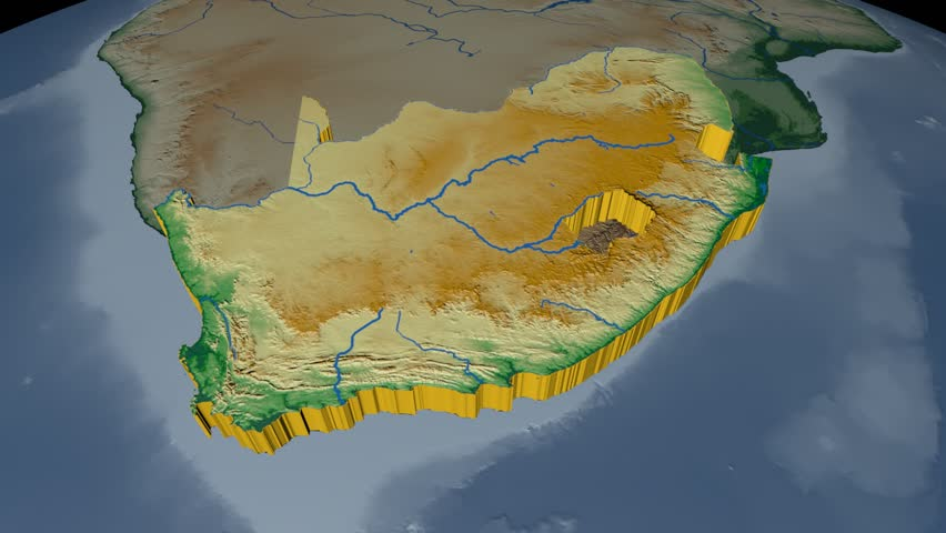 South africa extruded on the world map rivers and lakes shapes south africa extruded on the world map rivers and lakes shapes added colored elevation and bathymetry data used elements of this image furnished by nasa gumiabroncs Gallery