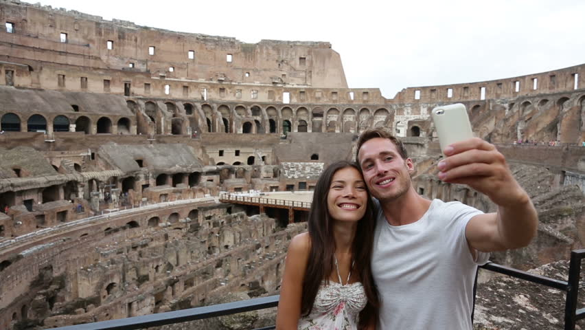 Young Woman Taking Self Portrait Selfie Photo On Europe ... |Europe Tourist Taking