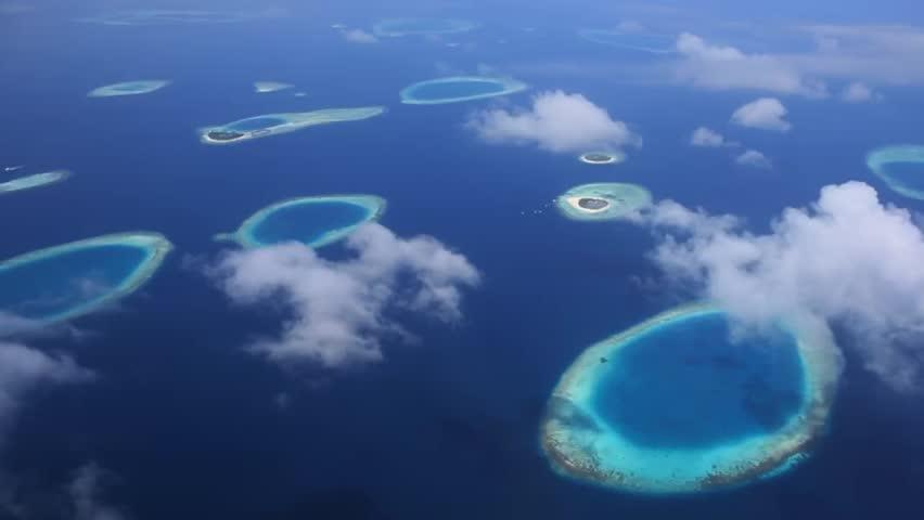 Aerial shot Island atoll of Maldives