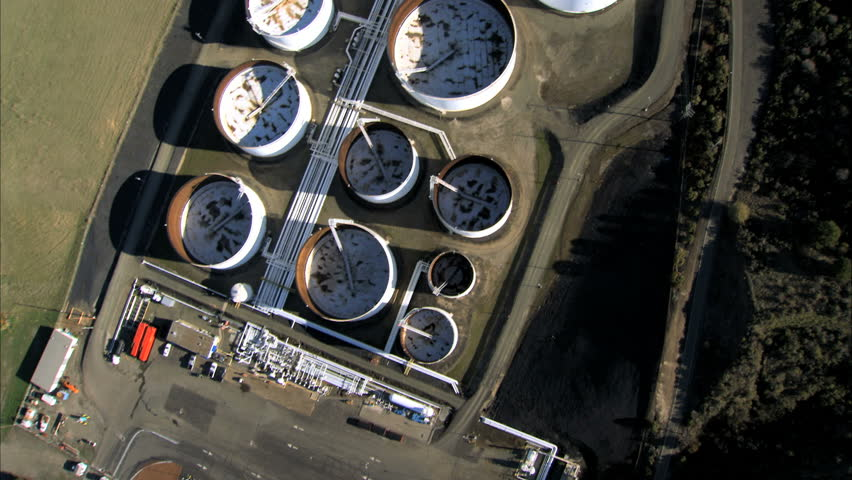 Aerial view of  oil refinery storage tanks