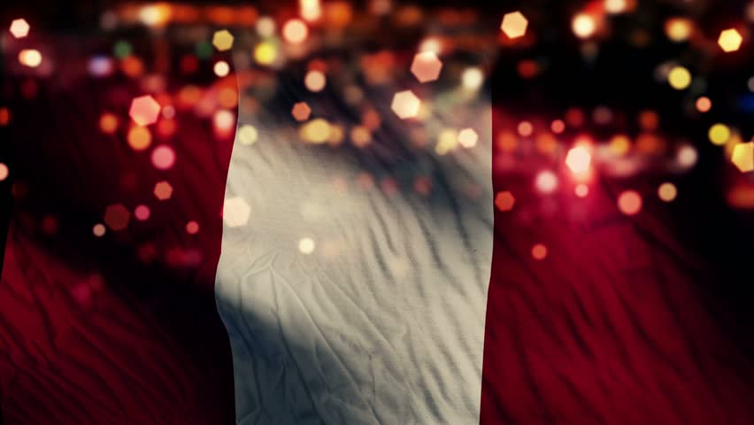 Peru Flag Light Night Bokeh Abstract Loop Animation 4K Resolution UHD Ultra HD