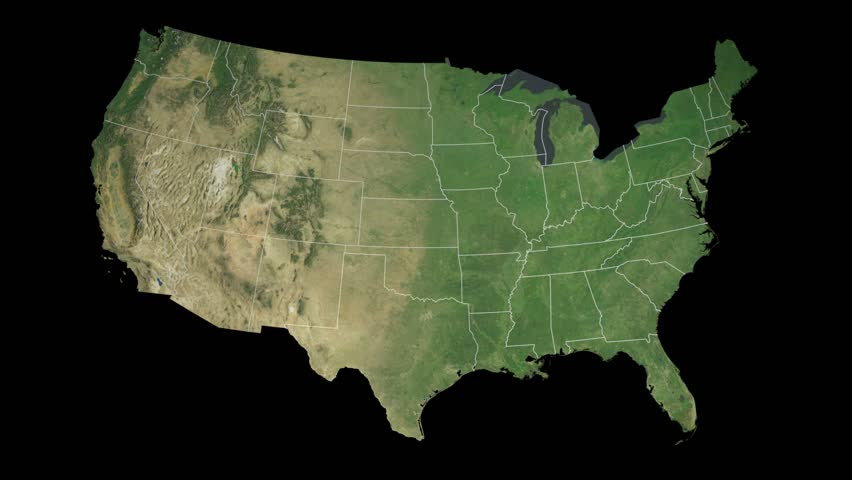 United States Without Alaska Zoom In On United States Contoured - Us map without texas
