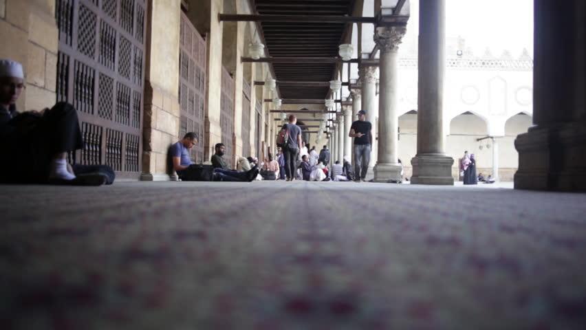 CAIRO, EGYPT - NOVEMBER 16, 2012: Al-Azhar Mosque. Low angle