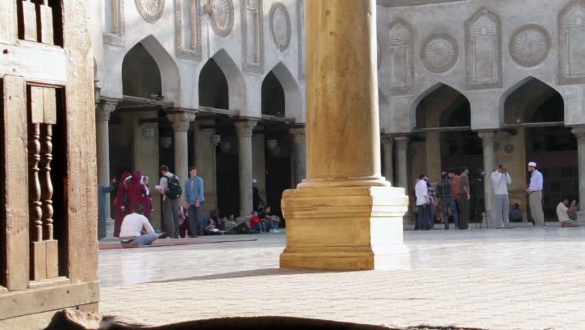 CAIRO, EGYPT - NOVEMBER 16, 2012: Courtyard of the Al-Azhar Mosque