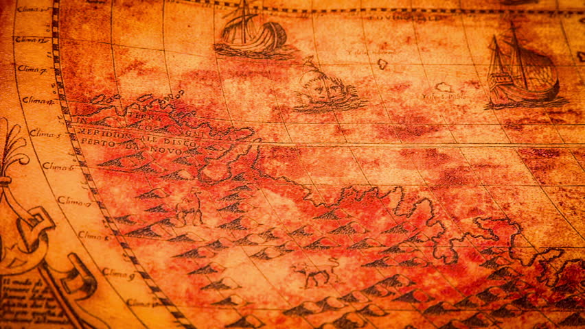 Old wallpaper with corner swirl digital animation stock footage vintage ancient world map in 1565 hd stock footage clip gumiabroncs Images