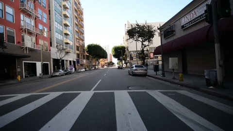 Driving Plates Los Angeles Downtown Morning CAM1 Front 21 7th St East to Los Angeles St South California USA