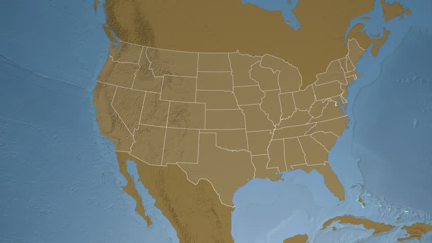 USA Utah State Salt Lake City Extruded On The Physical Map Of - 4k image of us map