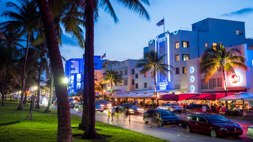 MIAMI - 14 JAN: Timelapse view of  Ocean Drive, a popular location for tourism with many restaurants and bars along the waterfront on 14 January 2015 in Miami, USA