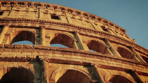 The Colosseum at the sunset in Rome