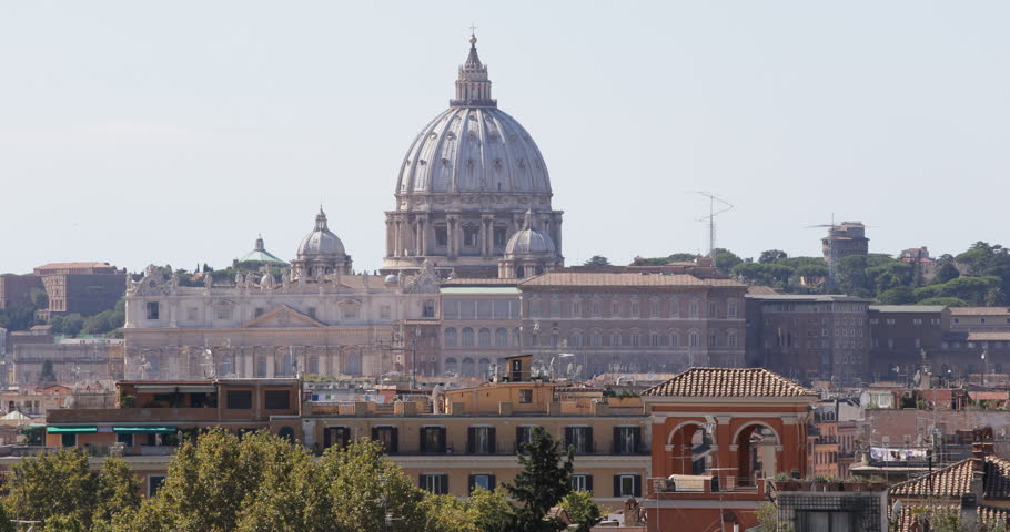 Rome Skyline St. Peter's Basilica Vatican City Medieval Ancient Old Houses Roofs ( Ultra High Definition, UltraHD, Ultra HD, UHD, 4K, 2160P, 4096x2160 ) | Shutterstock HD Video #8539525