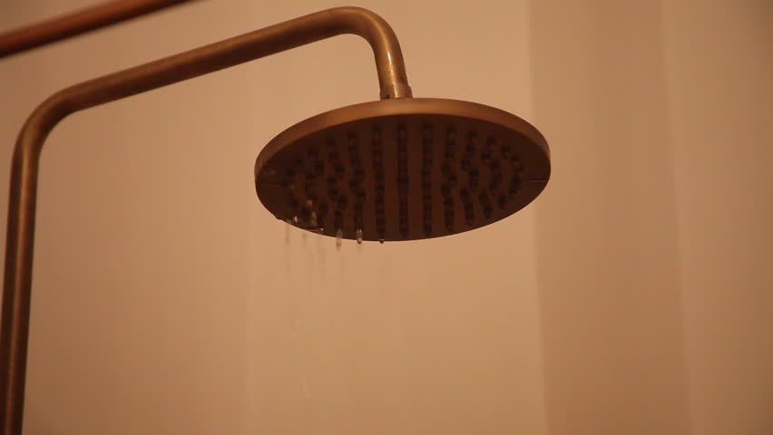 Turning On Vintage Copper Shower Head, Running Water, Bathroom ...