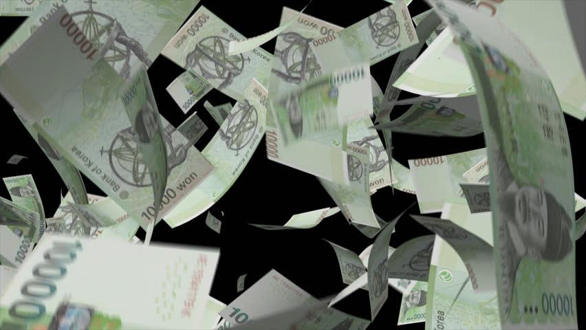 Falling South Korea Money Video Effect simulates Falling  10000 South Korea won Money banknotes with alpha channel in 4k resolution  | Shutterstock HD Video #8558245