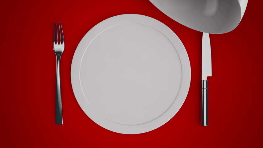 Table Setting Background table setting with plates and cutlery and a red ribbon for label