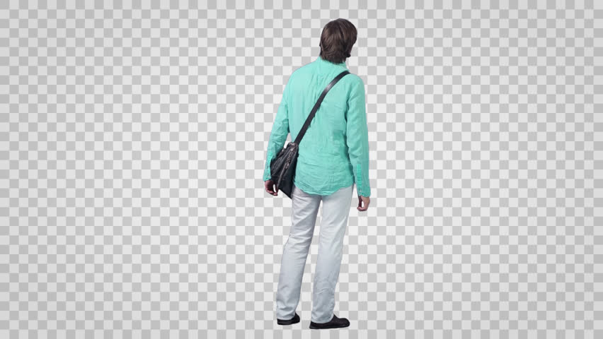 Standing male looking for something (back view). Footage with alpha channel. File format - mov Codeck - PNG+Alpha Use these footage to combine with your background or other people to make crowd effect