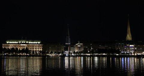 Beautiful View Hamburg Skyline Alster Lake Illuminated Night Historic Buildings ( Ultra High Definition, UltraHD, Ultra HD, UHD, 4K, 2160P, 4096x2160 )