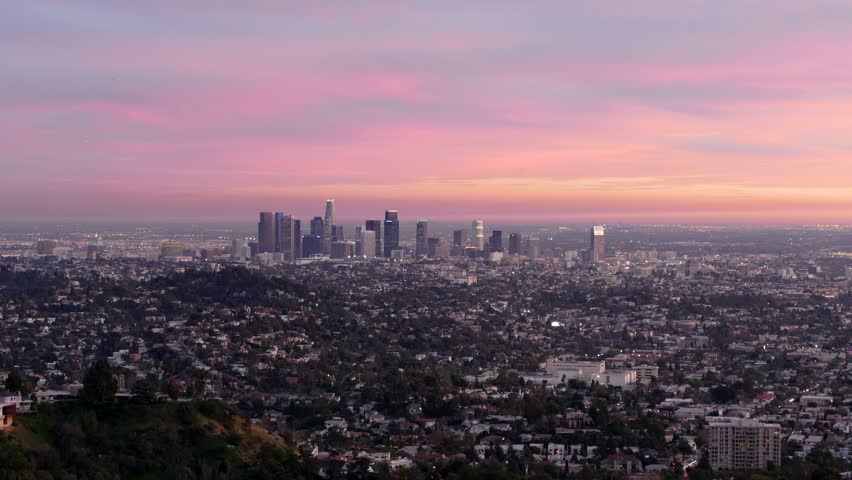 Downtown Los Angeles dusk to night cityscape time lapse view. | Shutterstock HD Video #8606164