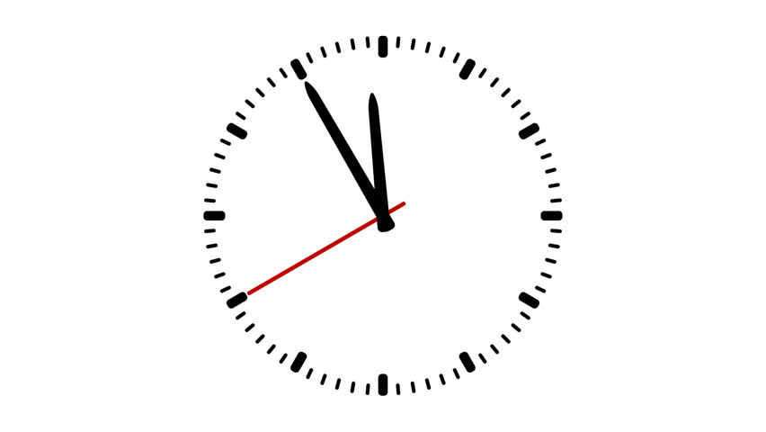Animated Clock Showing Five Minutes To Twelve Stock Footage Video ...