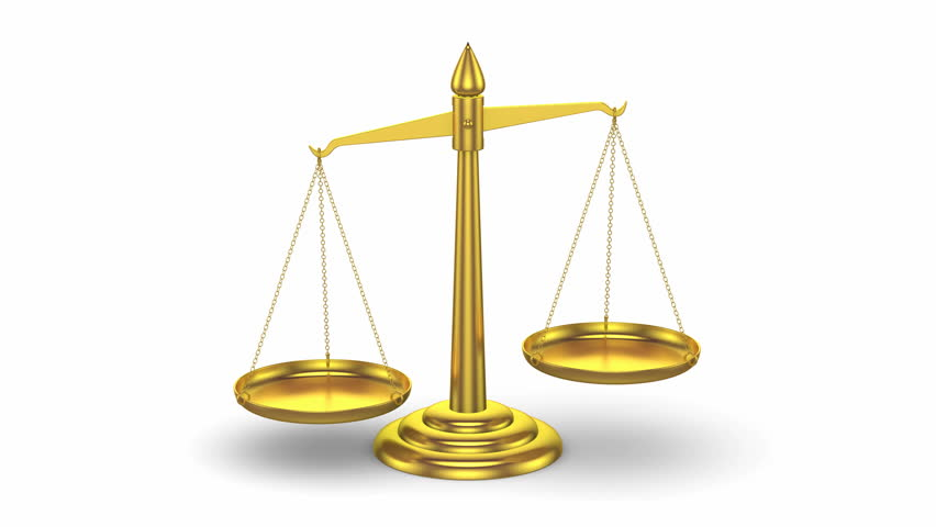 3d golden scales of justice moving up and down looped animation  stock footage video 16120783