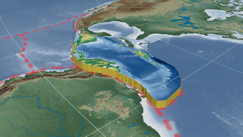 Caribbean Topographic Map.Caribbean Tectonic Plate Is Centered Stock Footage Video 100