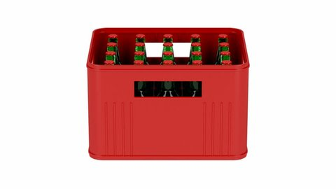 Crate with beer bottles spins on white background