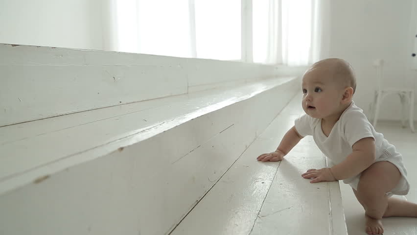 baby crawling on the stairs