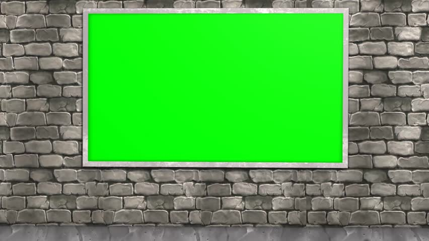3d Room With Green Screen Brick Wall Stock Footage Video