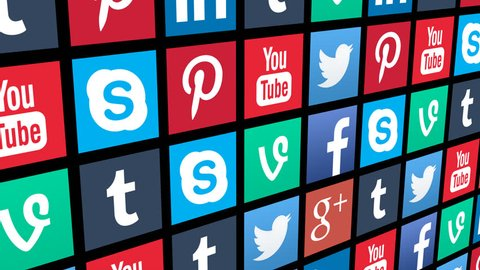 NYC, NEW YORK, UNITED STATES - CIRCA JAN, 2015: Seamless Loop of Social Media App Icons Moving with Alpha Channel